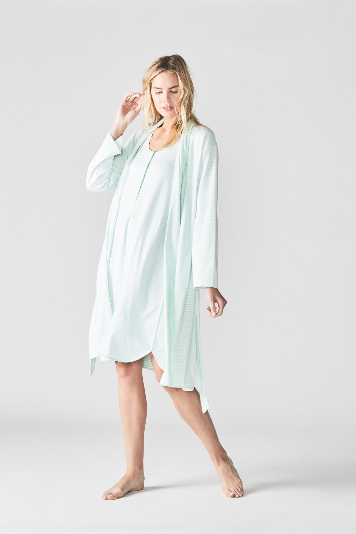 Pima Maternity Tank Gown in Mint