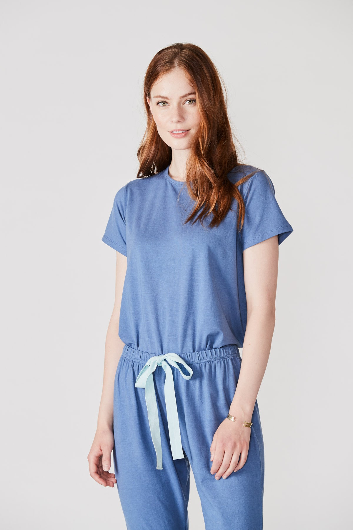 Ribbon Short Sleeve Set in Nimbus