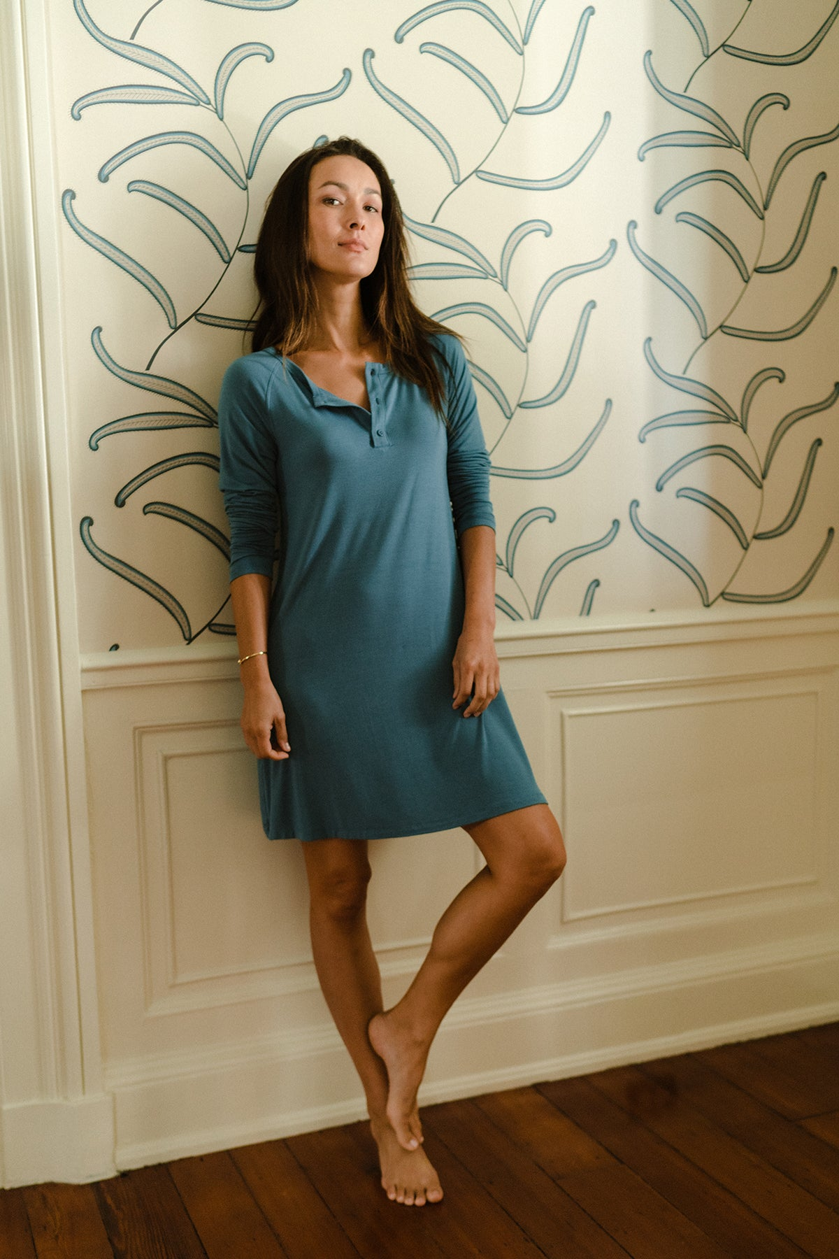 Henley Nightgown in Steel Blue