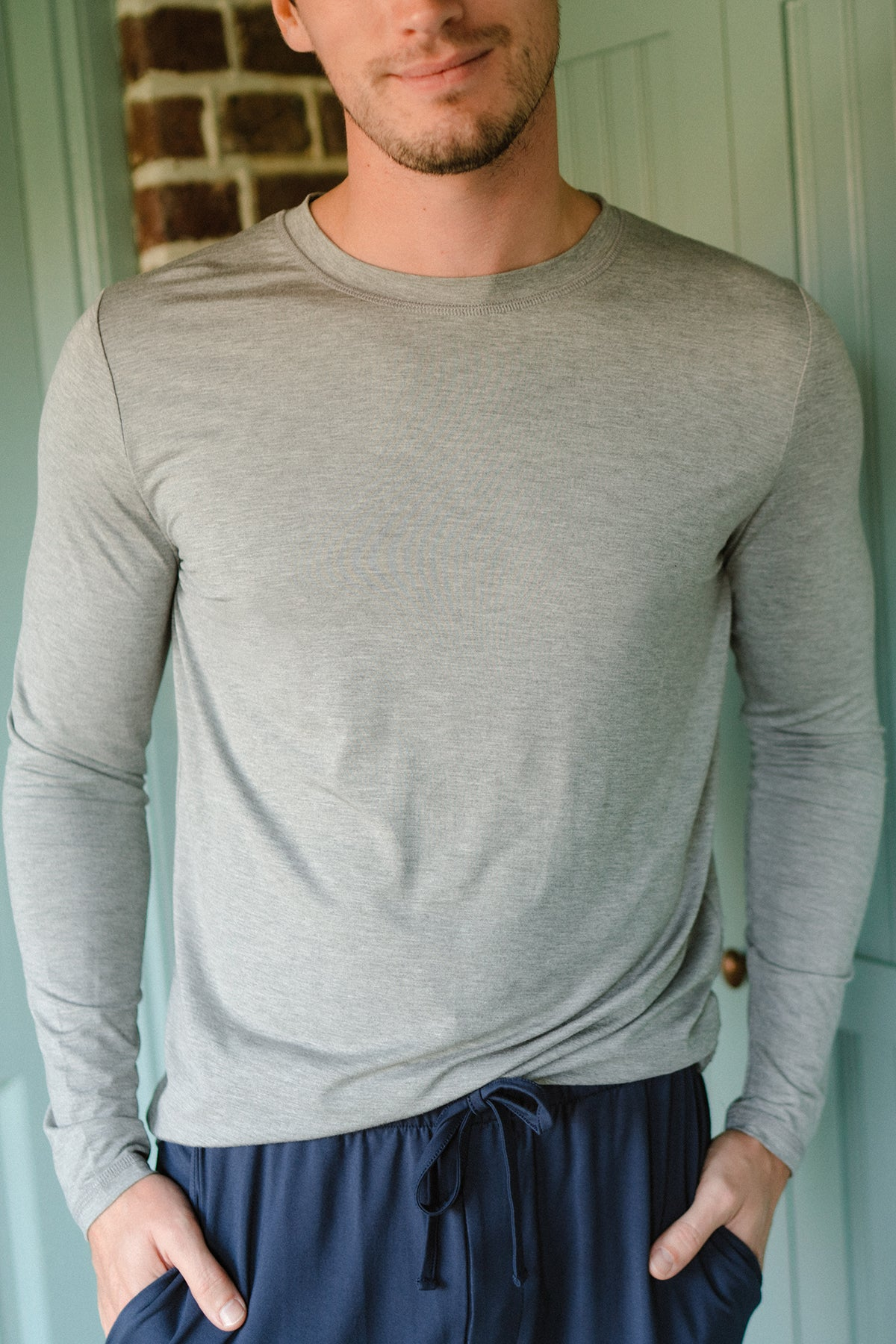 Men's Long Sleeve Bamboo Tee in Heather Gray