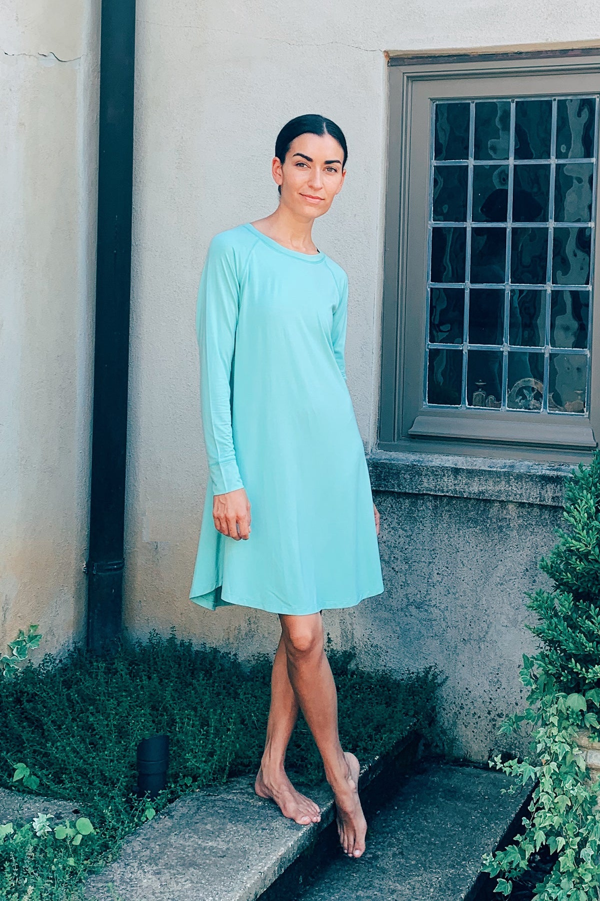 Bamboo Long Sleeve Nightgown in Parisian Green