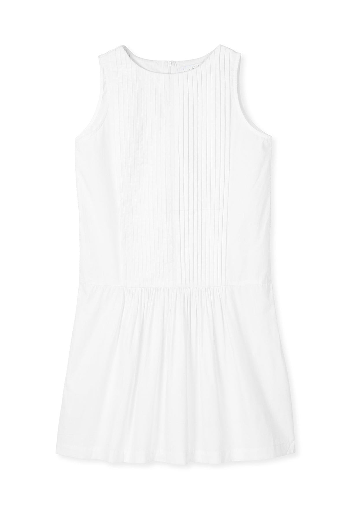 Pre-Order Poplin Pintuck Sleeveless Dress in White