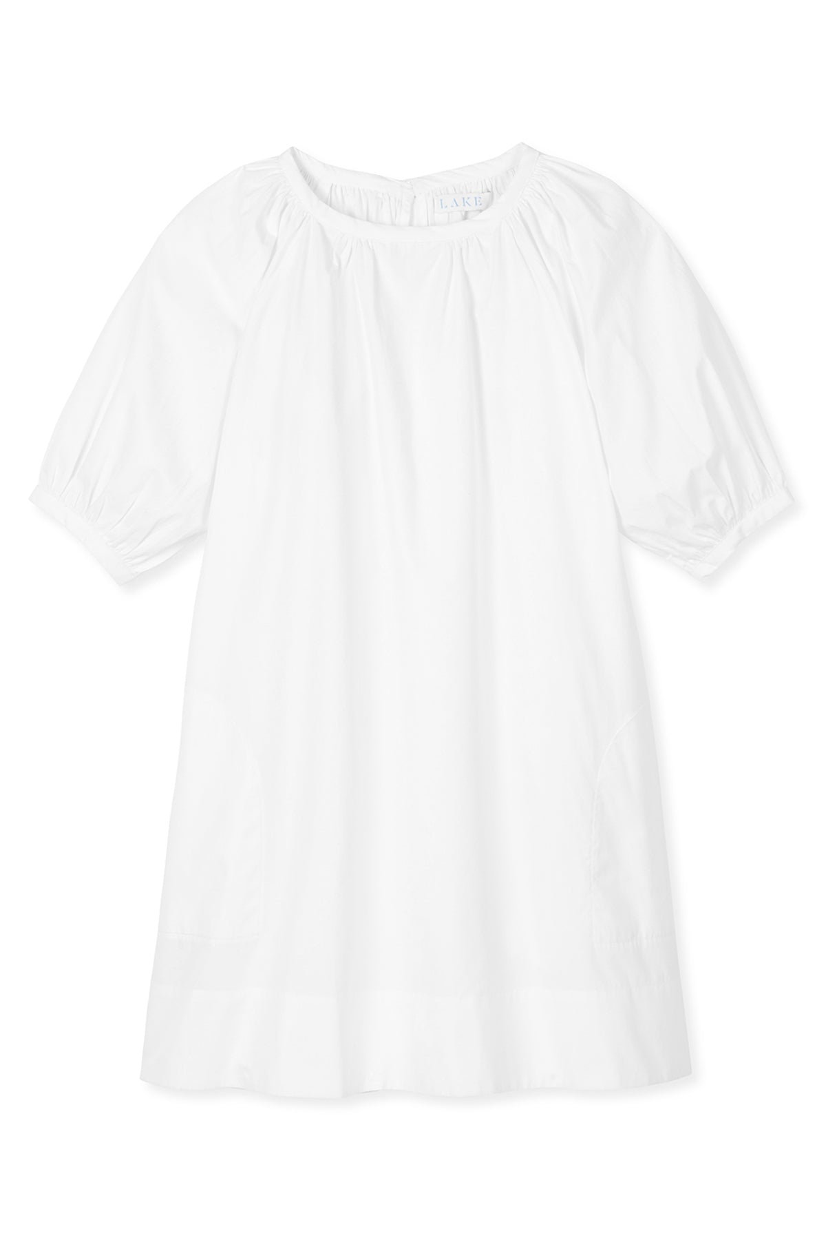 Poplin Gathered Sleeve Dress in White