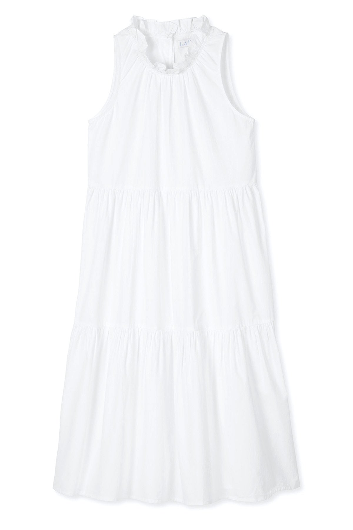 Poplin Ruffle Neck Dress in White