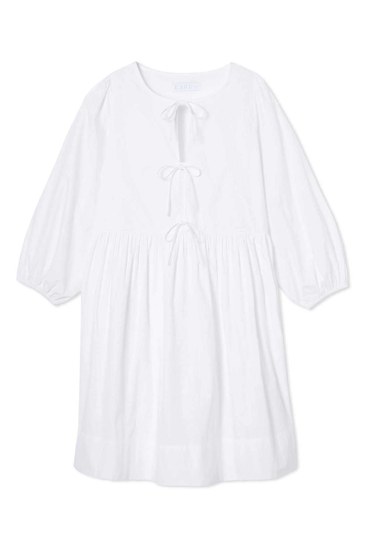 Poplin Triple Tie Dress in White