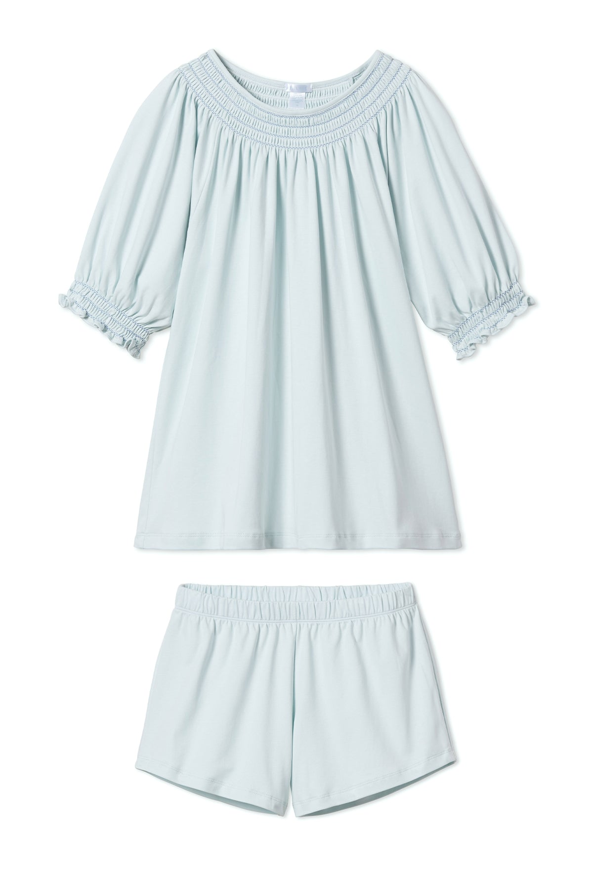 Pima Smocked Shorts Set in Air
