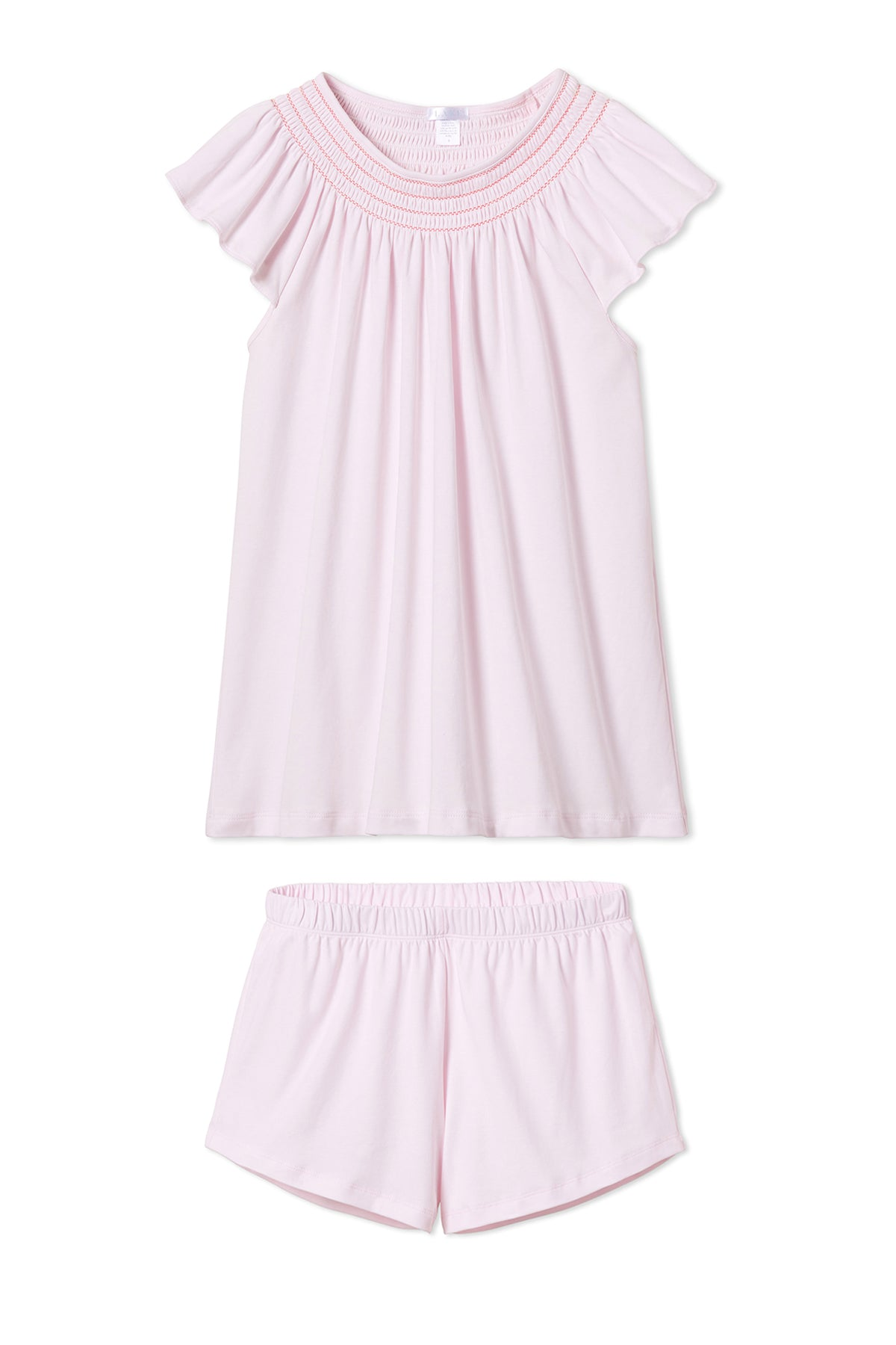 Pima Smocked Flutter Shorts Set in Azalea