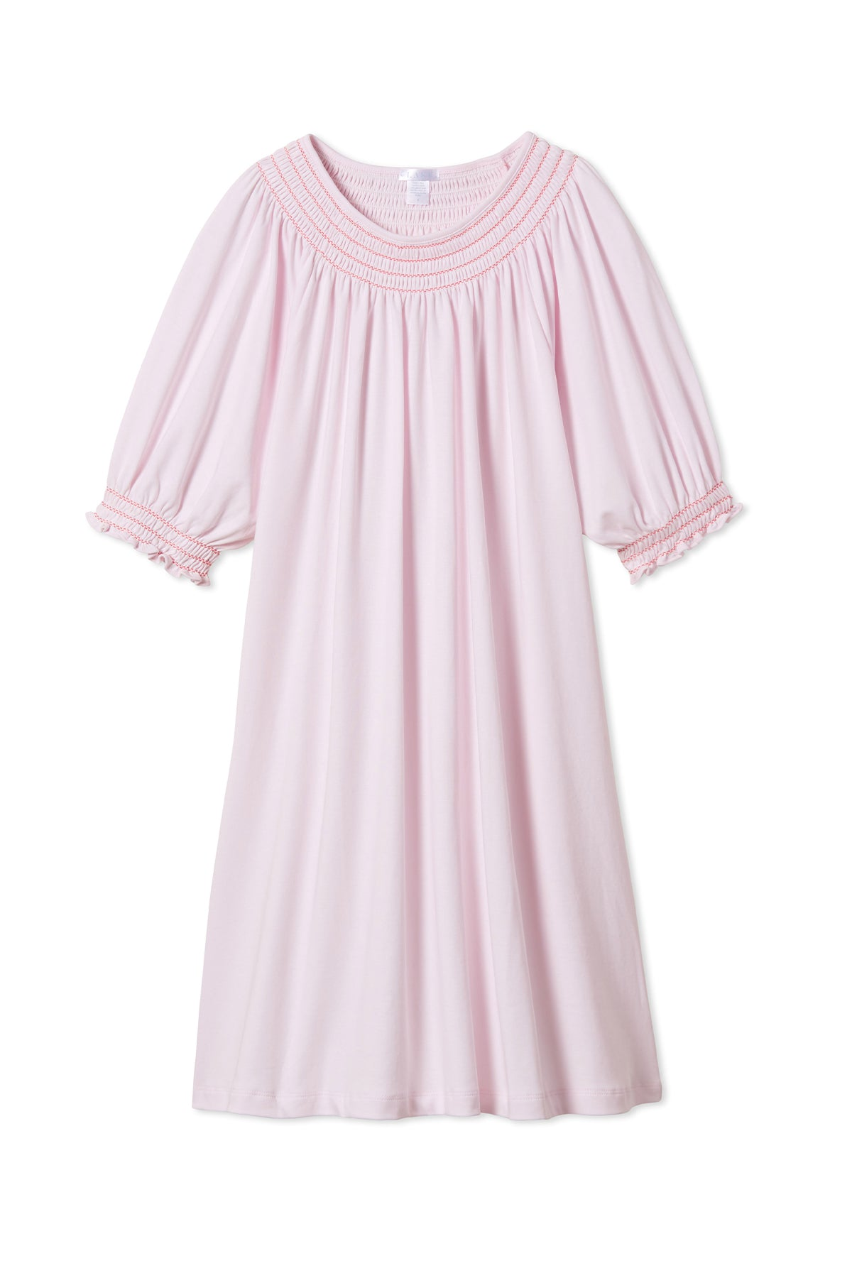 Pima Smocked Nightgown in Azalea