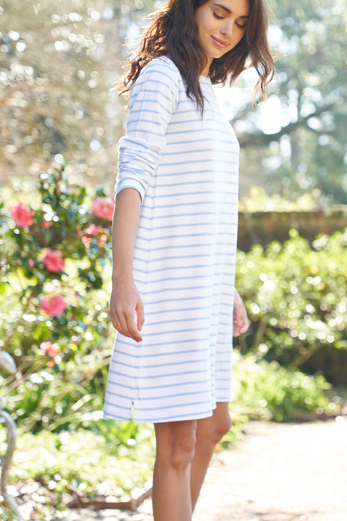 Pima Long Sleeve Weekend Nightgown in Cerulean