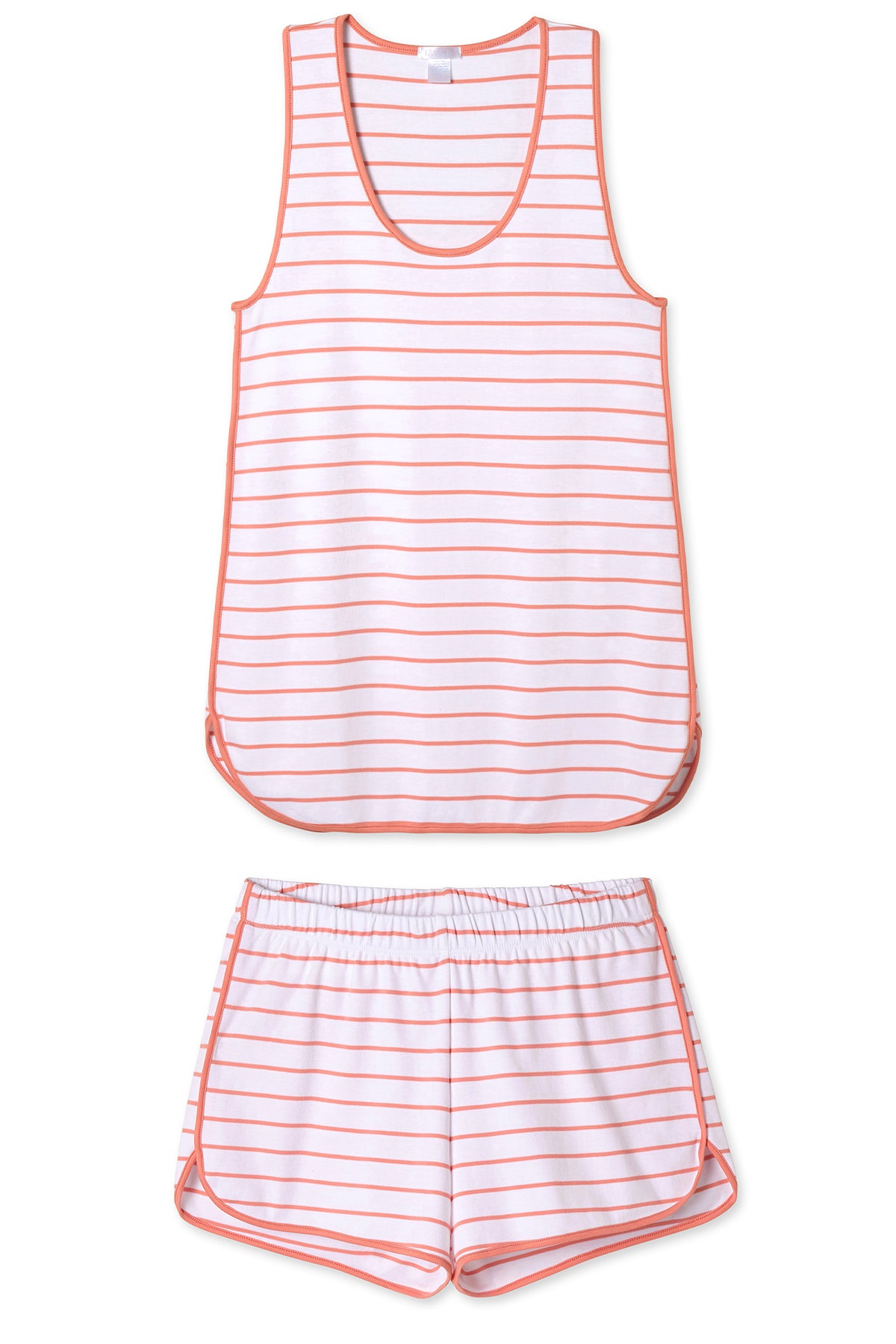 Pima Tank-Short Set in Coral