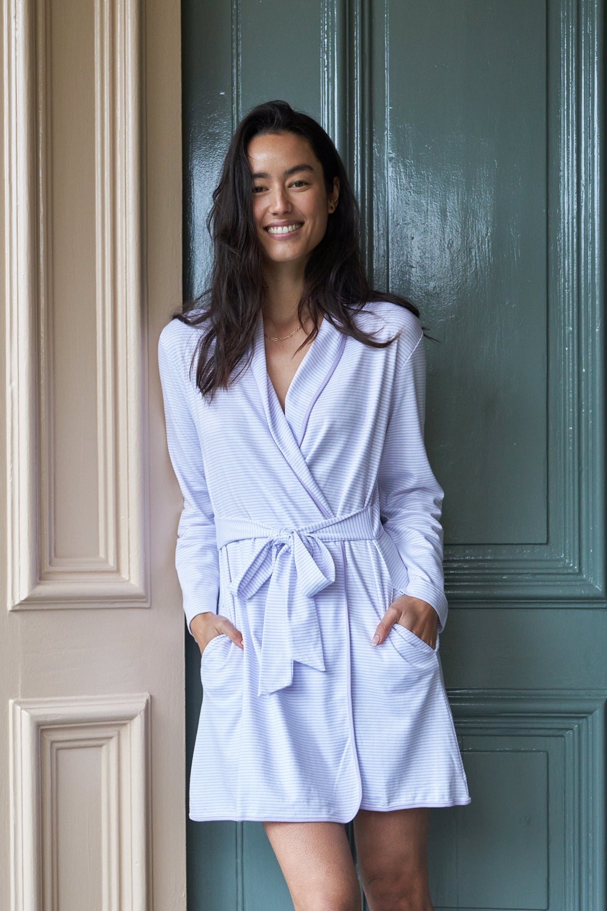 Pima Short Robe in Wisteria
