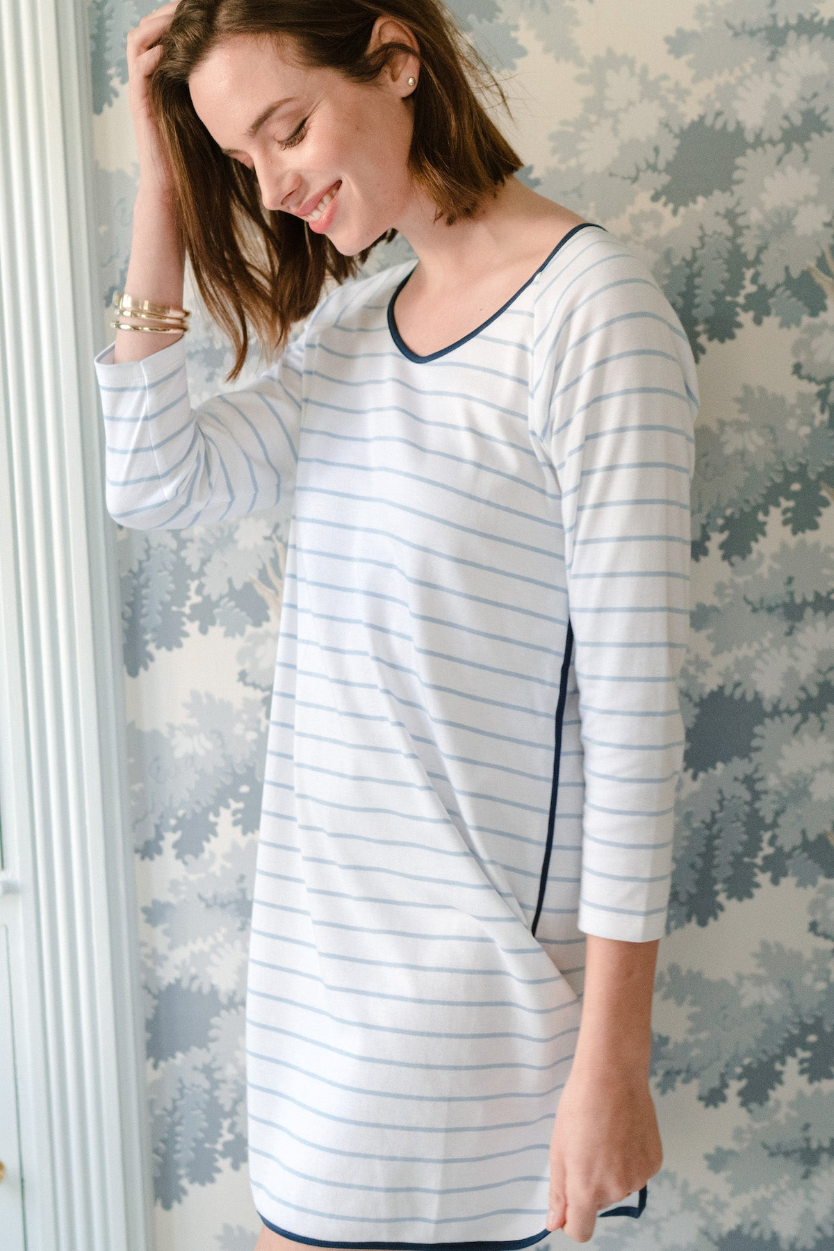 Pima Long Sleeve Nightgown in Marine