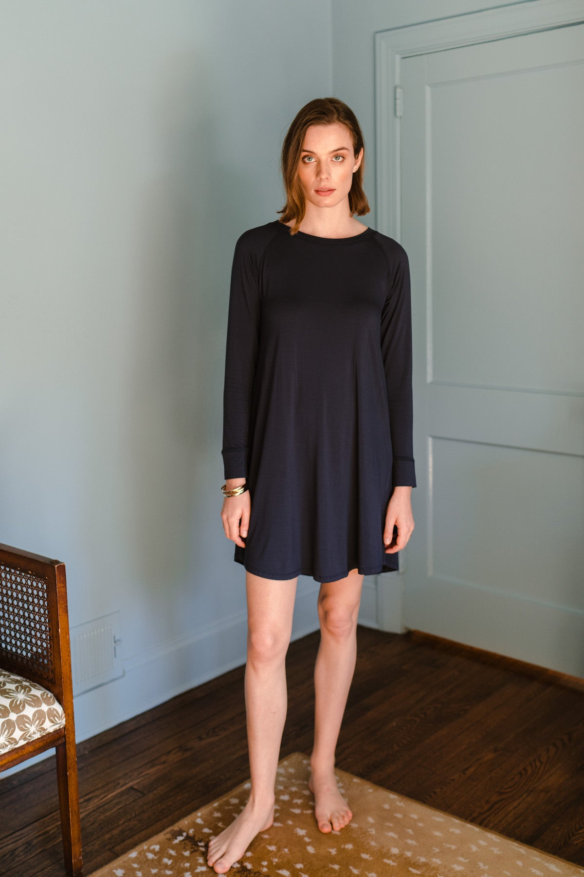 Bamboo Long Sleeve Nightgown in Navy