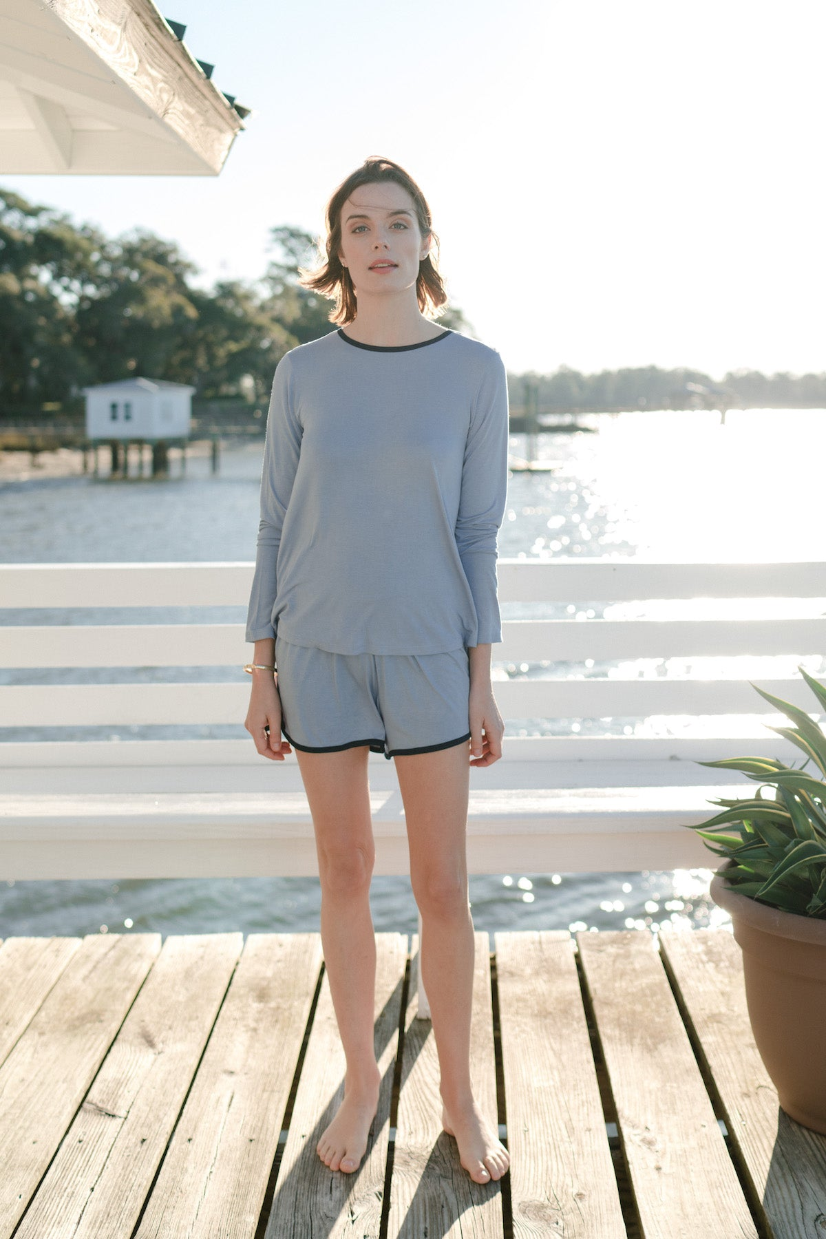 Vintage Long Sleeve Set in Nautical Blue