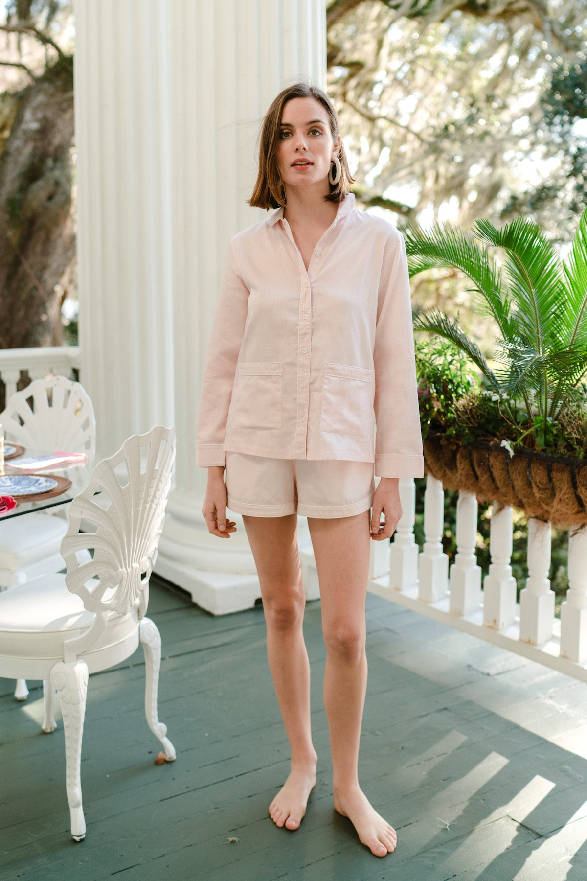 Poplin Shorts Set in Pale Pink