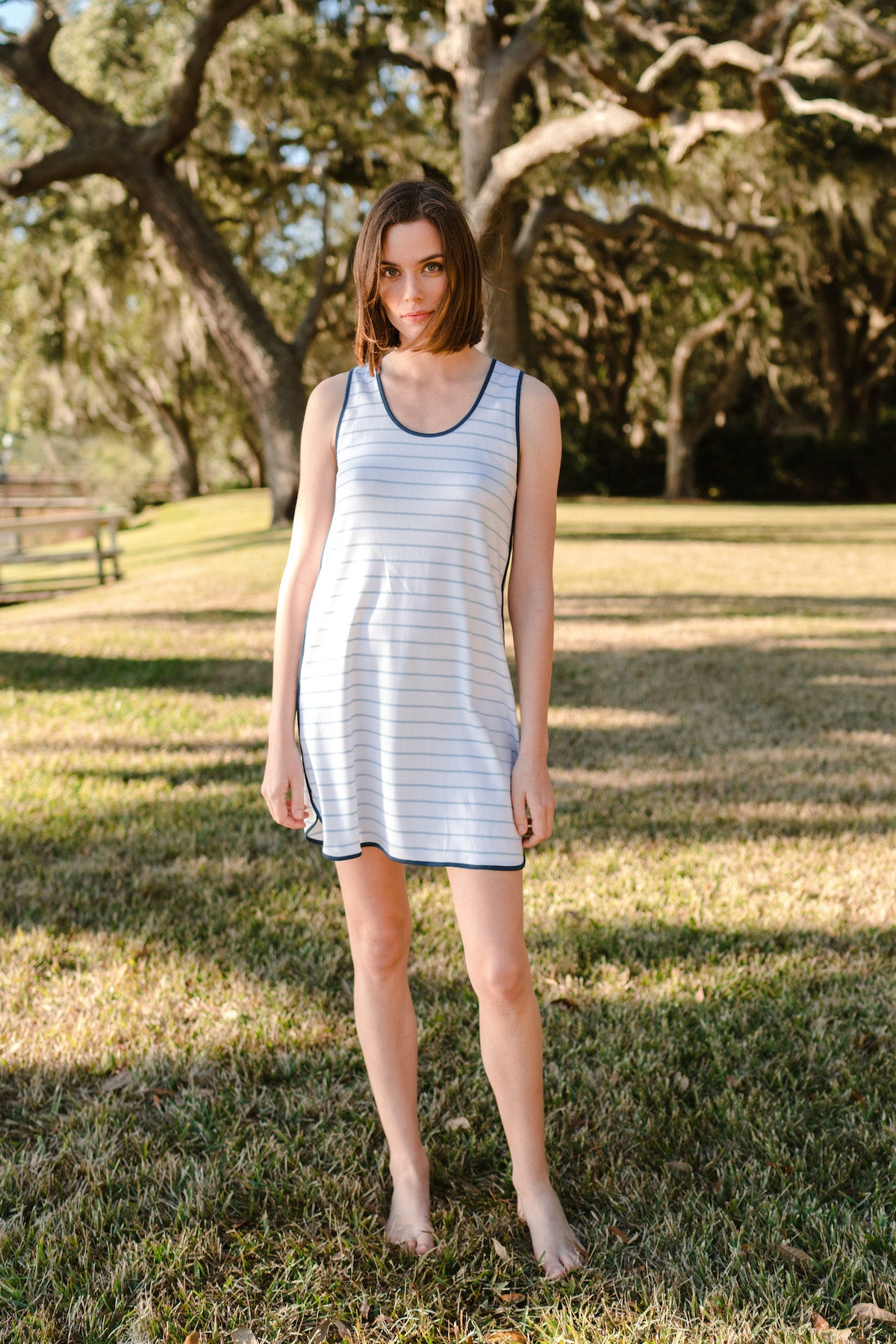 Pima Tank Gown in Marine