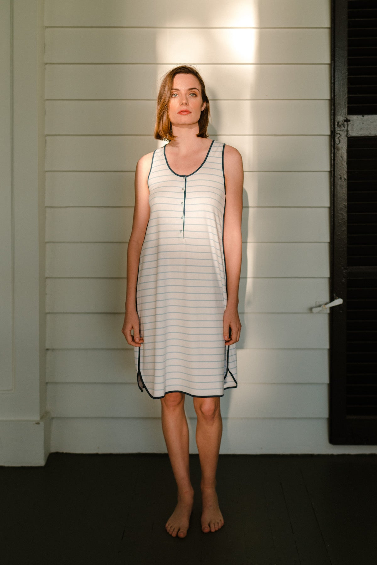 Pima Maternity Tank Gown in Marine
