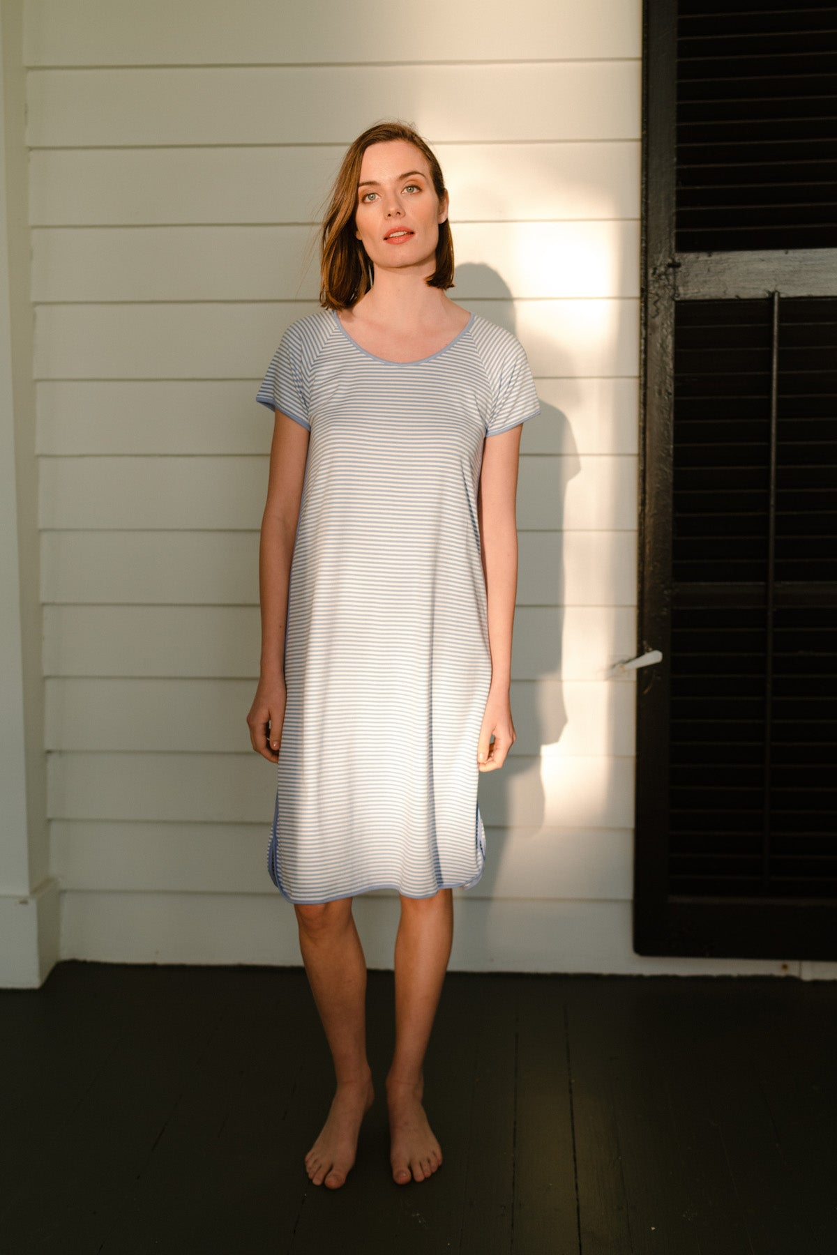 Pima Long Nightgown in Hydrangea