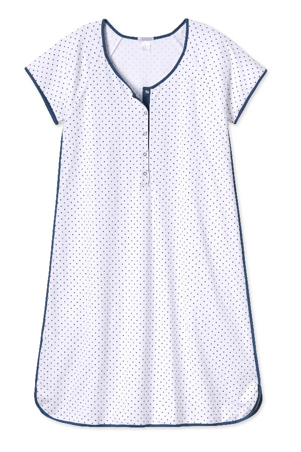 Pima Maternity Nightgown in Navy Dot