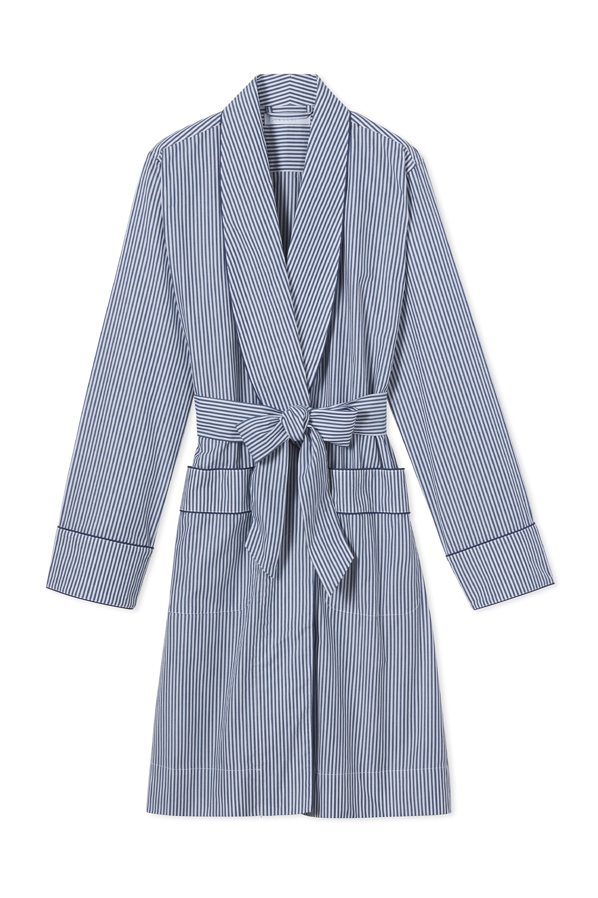 Poplin Robe in Navy Stripe