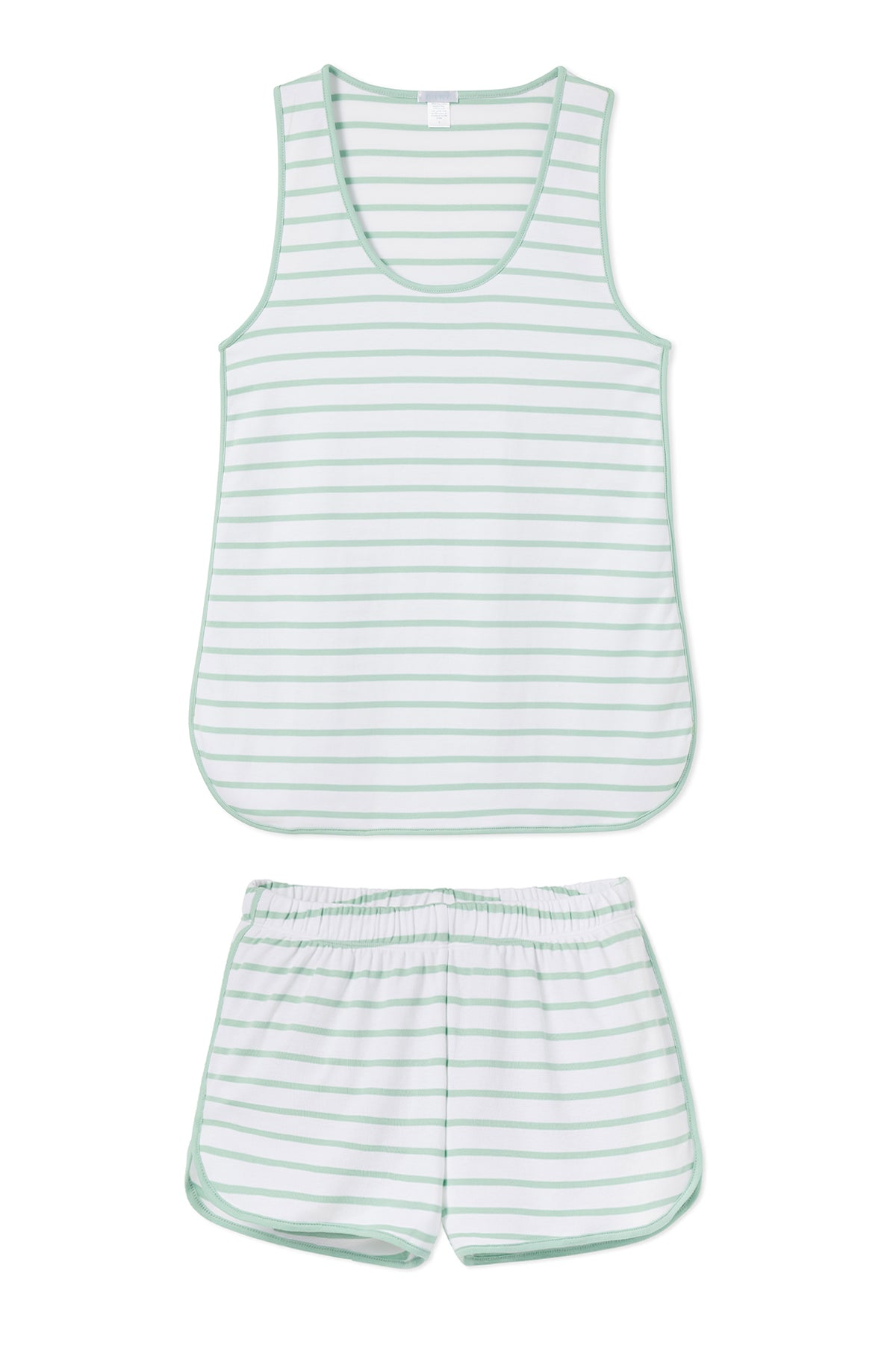 Pima Tank-Short Set in Spring Green