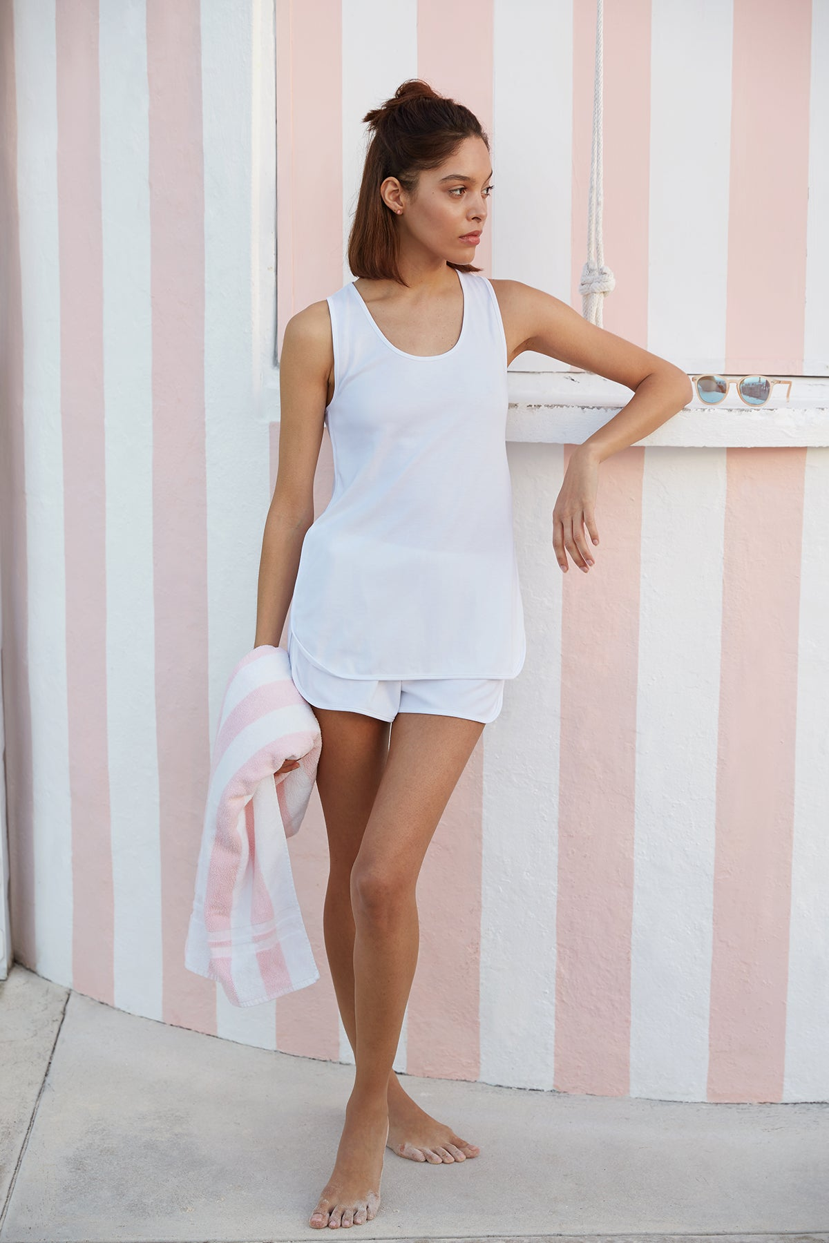 Pima Tank-Short Set in White