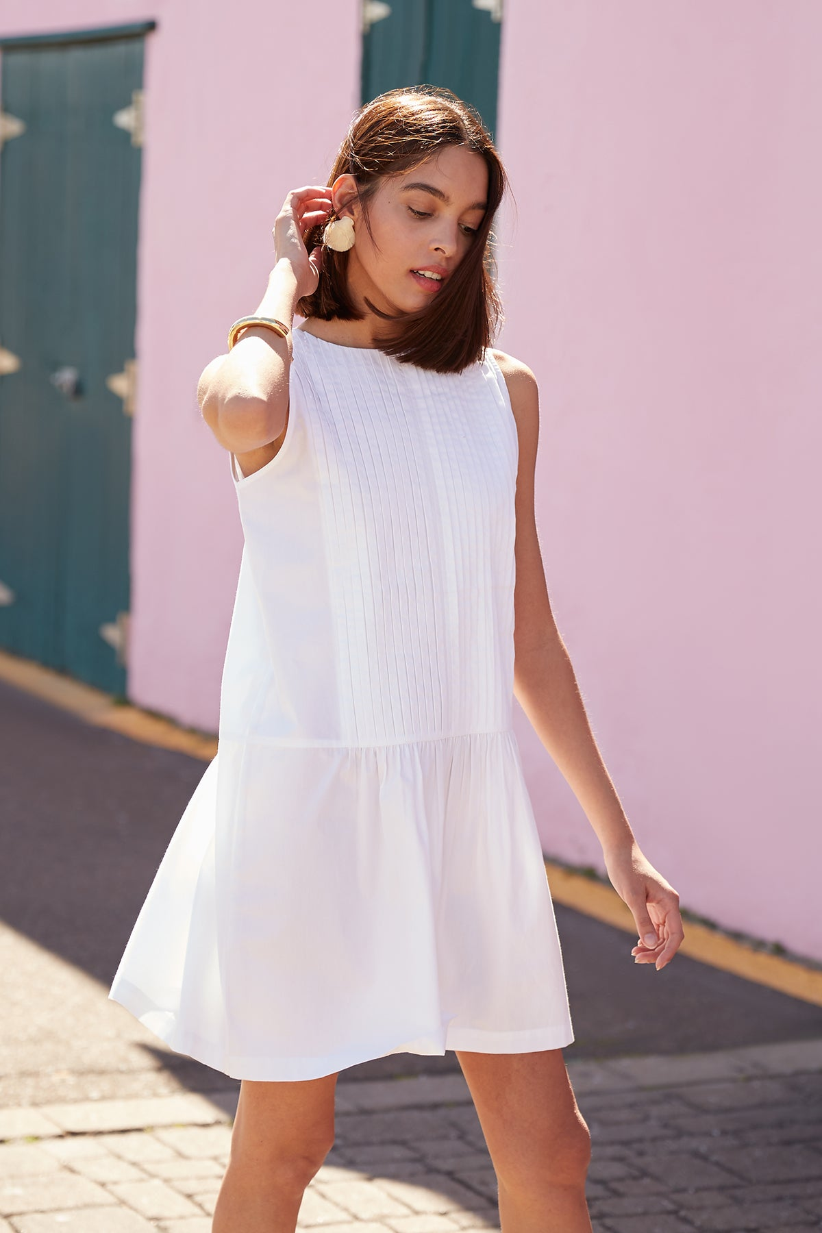 Poplin Pintuck Sleeveless Dress in White