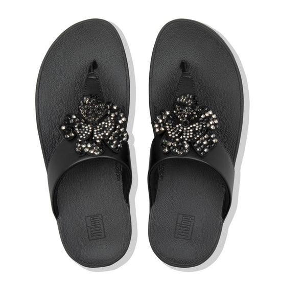 פיט פלופ לוטי אצבע שחור Fit-Flop Lottie Corsage Toe Thongs Black (4527329247306)
