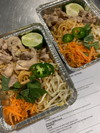 Pad thai noodles with chicken, salmon or crispy tofu