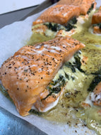 Creamed spinach stuffed chicken or salmon