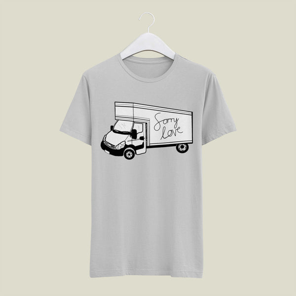 Sorry love print on a grey cotton tee, the print features a luton white van with the words sorry love scrawled down the side of the van.
