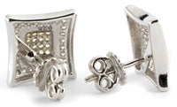 Sterling Silver Two Tone Rhodium CZ Kite Men's Stud Earrings GM-091