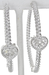 Sterling Silver Round Hoops Diamond Hearts Women's Earrings GM-102