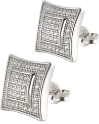 Sterling Silver White CZ Stones Kite Shape Men's Stud Earrings GM-116
