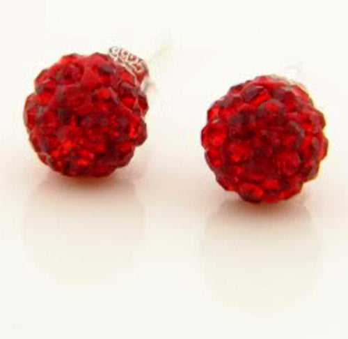 Sparkling Sterling Silver .925 Red Crystal Stud Ball Earrings GM-141