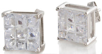 Sterling Silver White CZ Stones Square Men's Stud Earrings GM-160
