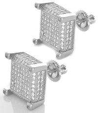 Sterling Silver White CZ Stones Square Men's Stud Earrings GM-173