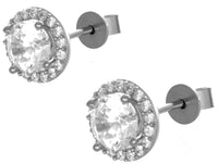 Sterling Silver Rhodium CZ Stone Women's Stud Earrings GM-143