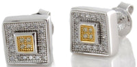 Sterling Silver Two-tone Rhodium CZ Stone Men's Studs Earrings GM-170