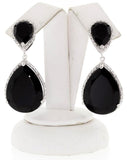 Sterling Silver Gemstone Tear Drop Women's Diamond Earrings GM-187