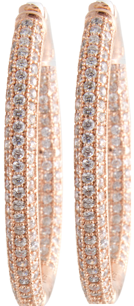 Sterling Silver Rose Gold-tone CZ Hoop Women's Earrings GM-203