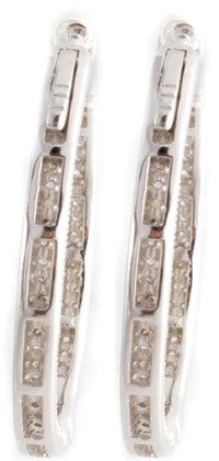Sterling Silver Silver-tone CZ Hoop Women's Earrings GM-205