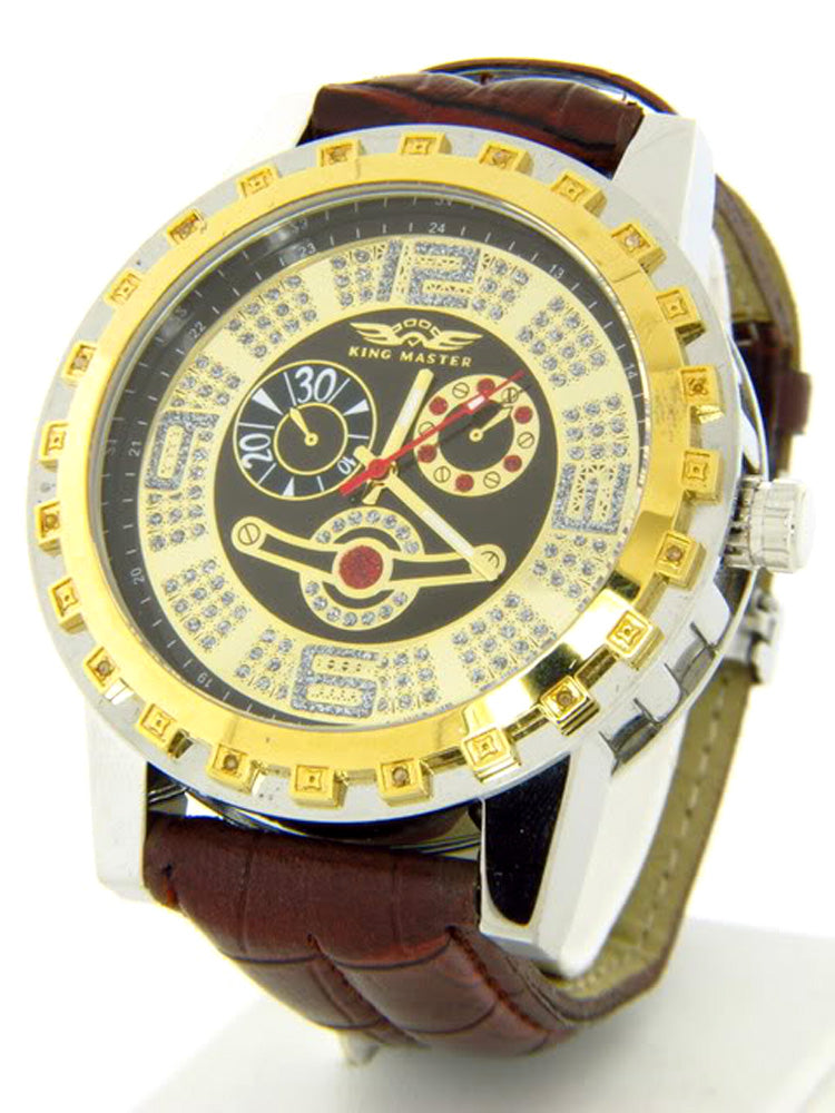 King Master Brown Band Diamond Men's Watch KM-40