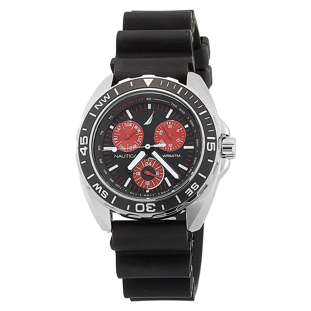 Nautica N07577G Sport Ring Multifunction Black and Red Men's Watch