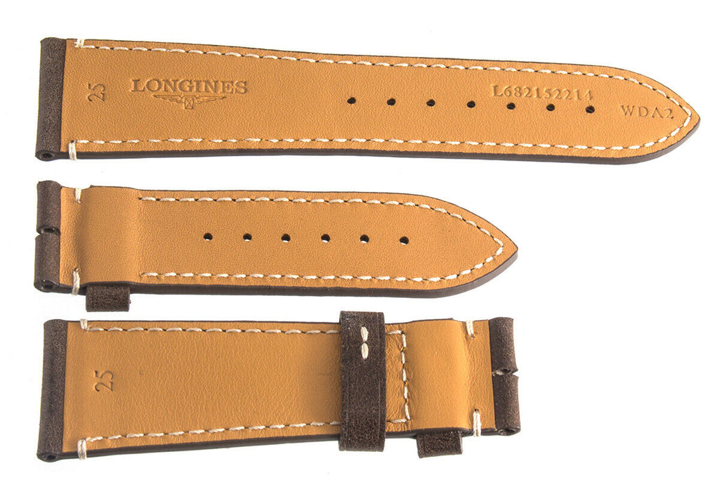 Longines L682152214 25mm x 20mm Brown Leather 3pc SET Unisex Watch Band