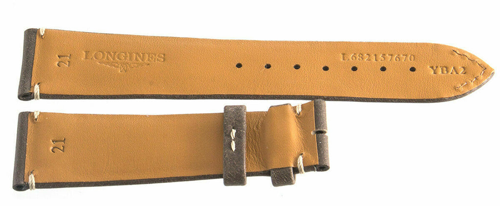 Longines L682157670 21mm x 18mm Brown Leather Unisex Watch Band 4pc Set