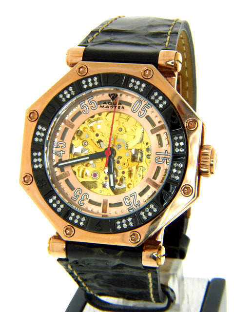 Aqua Master Octagon Automatic Men's Leather Watch 1.00ct W303-1