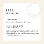 Load image into Gallery viewer, Card describing the symbolism and healing qualities of the Bee including a mini meditation