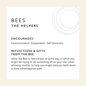 Card describing the symbolism and healing qualities of the Bee including a mini meditation
