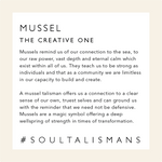 Load image into Gallery viewer, Card describing the symbolism and healing qualities of Mussel Jewelry including a mini meditation